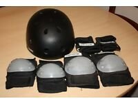 Black Oxelo Cycle/Skate Helmet and Protectors