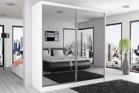 Brand New German Berlin Full Mirror 2 Door Sliding Wardrobe w/ Shelves, Hanging