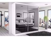 Brand New German Berlin Full Mirror 2 Door Sliding Wardrobe w/ Shelves, Hanging