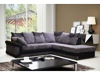 BRAND NEW DINO JUMBO CORD Corner Unit or 3 and 2 Seater Sofa set in black/grey or brown/beige