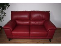 Real leather 2 seats standard sofa color deep red with Free Delivery only £220