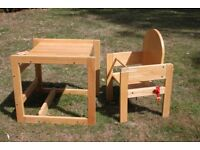 Wooden High Chair - Table and Chair