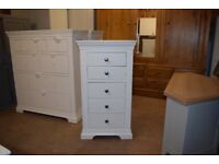 CHANTILLY WHITE Tall 5 Drawer Chest