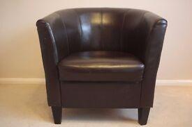 Leather Armchair - Dark Chocolate Colour
