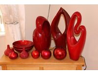 A selection of table lamps and ornaments for sale