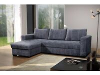 FLORIDA FABRIC CORNER SOFA BED WITH STORAGE BRAND NEW L/H OR R/H