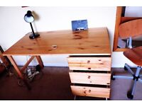 Pine desk with chair suitable for a student available collection only