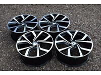 "18"" VW Golf Breccia Style Alloy Wheels GTI Club Sport Mk5 Mk6 MK7 Audi A3 2nd Gen New Black Polish"
