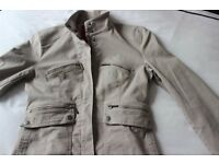 John Rocha jacket, Size 8 Dark Beige/Khaki, lined & machine washable.