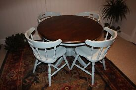 Round dining table and 4 bar style chairs