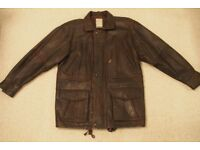 leather jacket - mens size large 42-44 inches brown