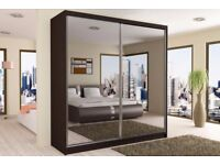 STUNNING 150CM ITALIAN FULLY MIRRORED SLIDING DOORS WARDROBE WITH SAME DAY DELIVERY