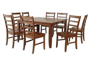 Wabasca Piece Dining Set In Saddle Brown