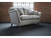 Duresta Ruskin 2 seater and Ruskin footstool covered in gorgeous Cream Plaid wool