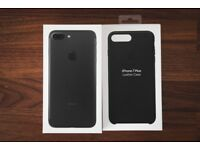 Brand New iphone 7 plus 128gb Matte Black + Official Apple Leather Case In Black