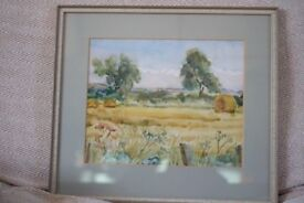 Original Watercolour painting Harvest Time, East Lothian by Dorothy Cameron