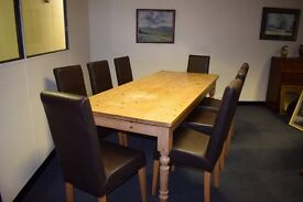 TR Hayes pine table and 8 high back chairs