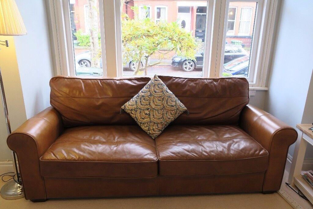 """John Lewis """"Halo"""" Premium Large Leather Sofa (204cm x 98cm) Excellent Condition. Removable arms"""