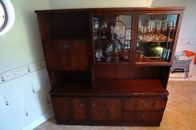 Mohogany display cabinet in superb condition with glass doors and internal lighting
