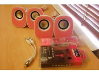 (2 PAIRS) S211PK 2.0 PC STEREO SPEAKERS with 3.5mm SPLITTER + NEW JVC AND TECHNIKA EARPHONES SALE