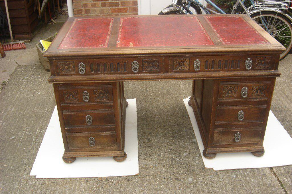 Old Charm Oak Pedestal Office Writing Desk Table