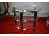 Glass and white metal 3 tier TV stand
