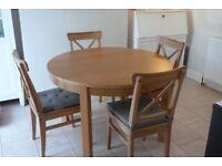 Oak veneer Table and Chairs