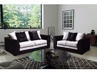 BRAND NEW BLACK /BLACK AND SILVER CRUSHED VELVET 3+2 SEATER sofa set