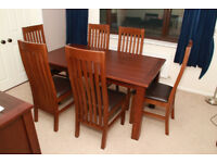 NEXT TABLE, 6 CHAIRS, SIDEBOARD & BOOKCASE, DARK CAMBRIDGE RANGE, SOLID WOOD