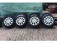 Astra alloy wheel trims and BMW alloy trims both with tyres.
