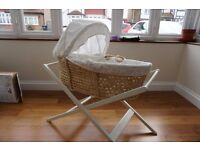 John Lewis Wicker Moses Bassinet White with stand, baby, newborns