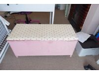 Rattan Up-cycled Blanket Box in pink/cream
