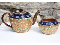 Vintage Antique Royal Doulton and Slater Teapot & Sugar Bowl Stoneware Doulten Tea Set