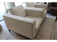 Luxury Fabric Armchairs x 2 - Cream - RRP £2,550