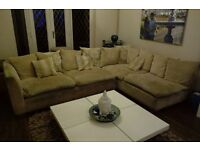 Cream Corner Sofa with Footstool - Great condition needs a little cleanup