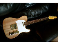 telecaster guitar natural wood amazing tone great set up low action not fender squier