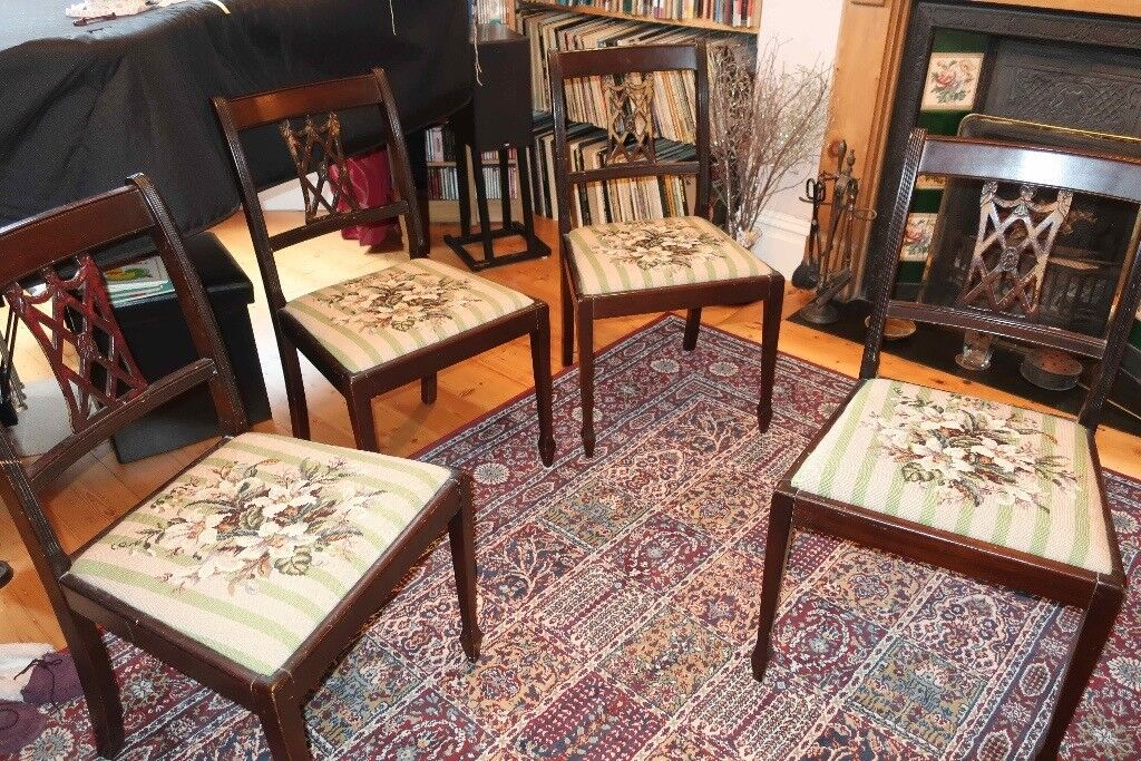 Four Tapestry Dining Room Chairs. Inherited from elderly relatives and no longer needed.