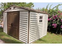 DURAMAX 10' X 8' WOODSIDE PLASTIC/RESIN SHED (NOT KETER) STILL IN BOX. POSSIBLE DELIVERY.