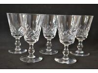 5x Stuart Cut Crystal Sherry Glasses