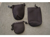 Set of 3 Neoprene Lens Bags, (New without tags)