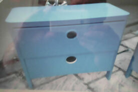 Blue Ikea Busunge chest of draws,.. the second handle has now been replaced, )