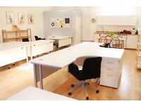 Large L-Plan desk with storage in smart new office in Stokes Croft