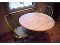 Shabby chic dining table and chairs, seats 2, extensible