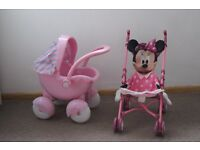 Pink Pram and Minnie Mouse Stroller - Both VGC