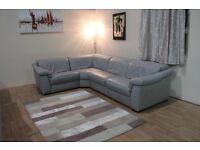 Ex-display Natuzzi Sensor grey leather electric recliner corner sofa
