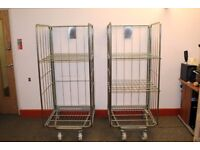 2 x Metal Cage Trolley - Folding/Nesting w/ Shelves