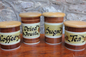 4 Vintage Handpainted Storage Containers- Toni Raymond Pottery Coffee Tea Sugar Dried Fruit