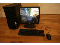 Games PC & Monitor - Intel Dual Core 2.93GHz, 8GB RAM, 1TB Hard Disk, Radeon R7, Windows 7