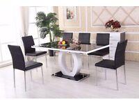 Giovani gloss table chairs