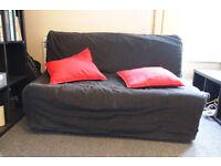 Ikea two-seat sofa-bed LYCKSELE MURBO. Black cover, memory foam mattress